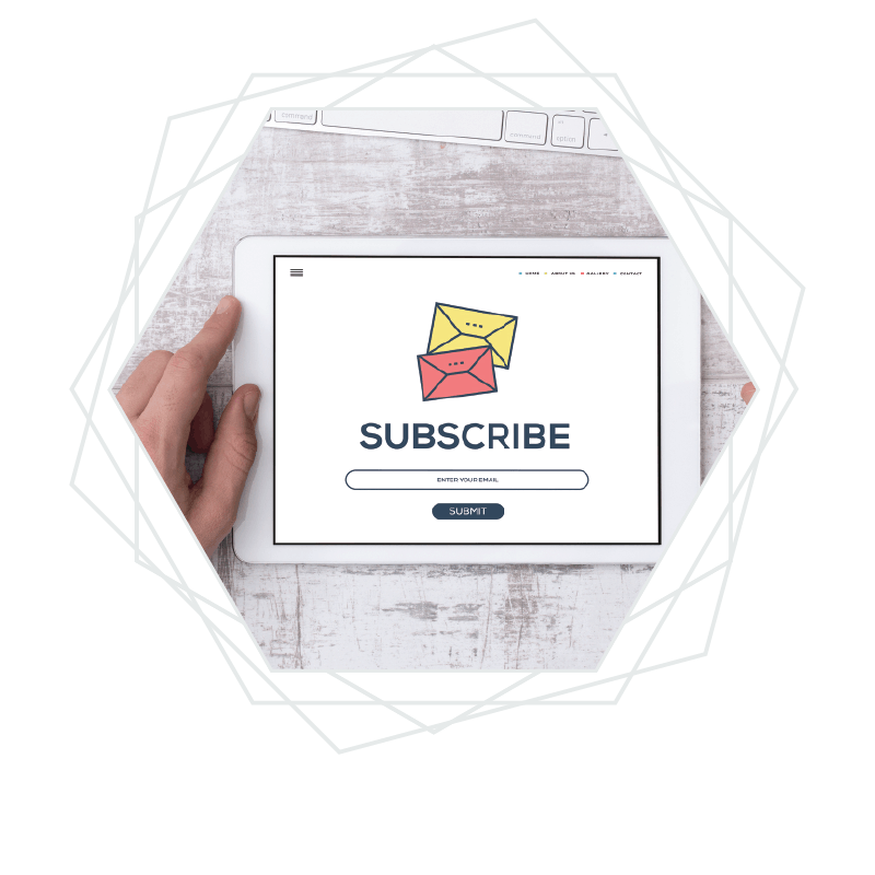 Computer tablet with a subscribe button for email marketing